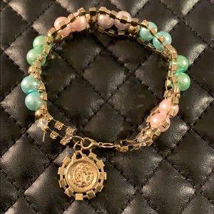 Vintage Unique Religious Metal Rhinestone Bracelet